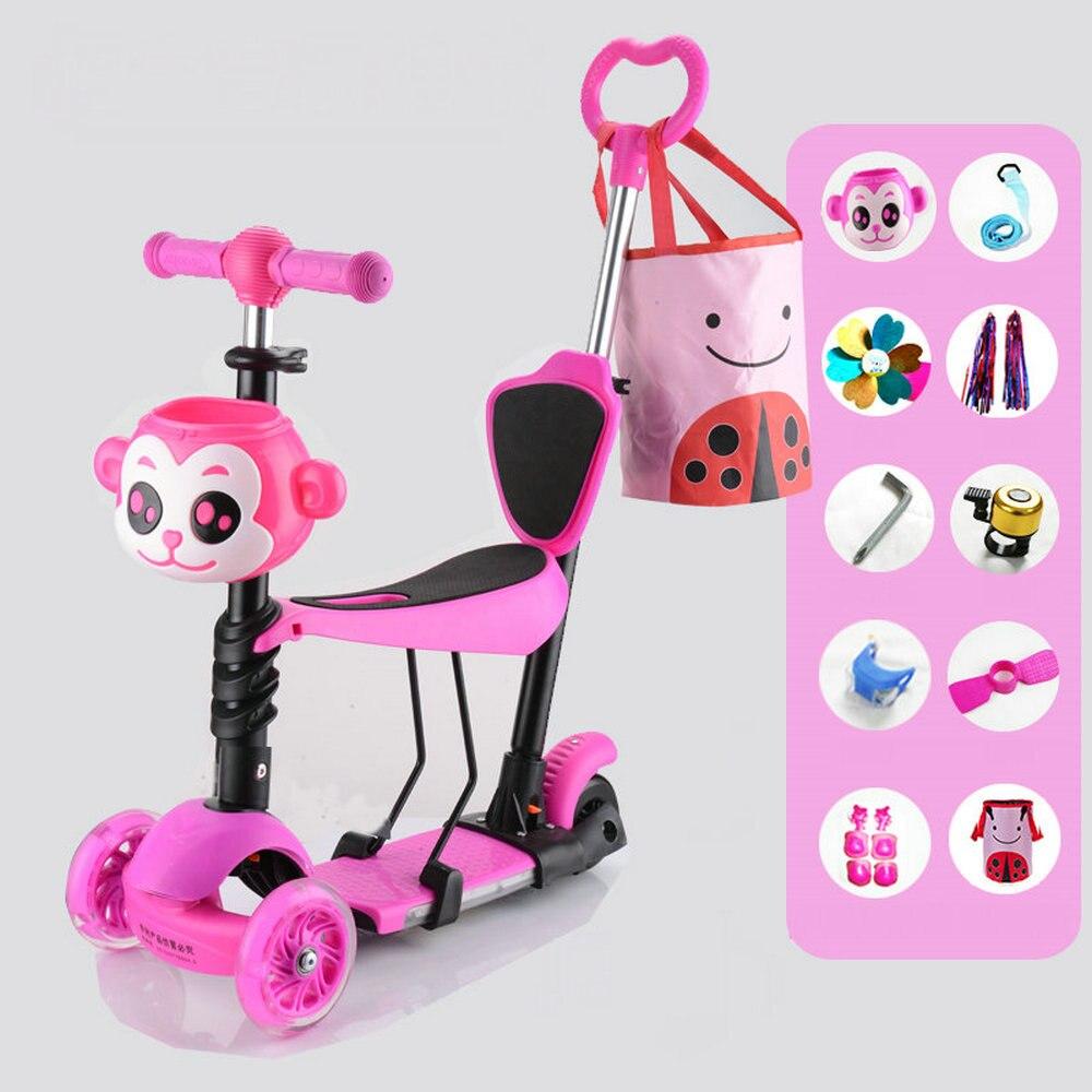Scooter 4 en 1 pour enfants avec pédale de repose-pied, Scooter enfant avec 3 roues Flash trottinette pour tout-petit enfants avec sac maman acheter 1 get 9