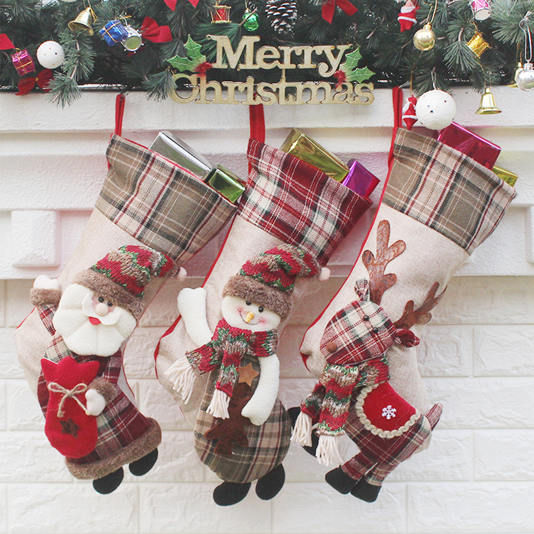 Home Cute Christmas Stocking Chrismas Decorations for Home Christmas Tree Ornaments Gift Holders Stockings