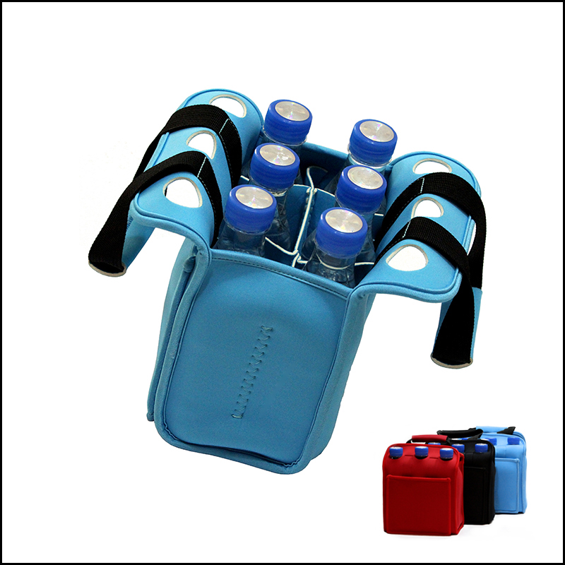 Neoprene insulated six pack beer cooler bag