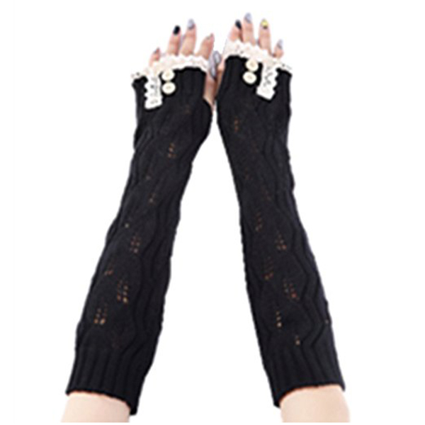 1-spitze Schwarz Frauen Häkeln Lange Finger Handschuhe Mit Daumen Loch Fein Verarbeitet