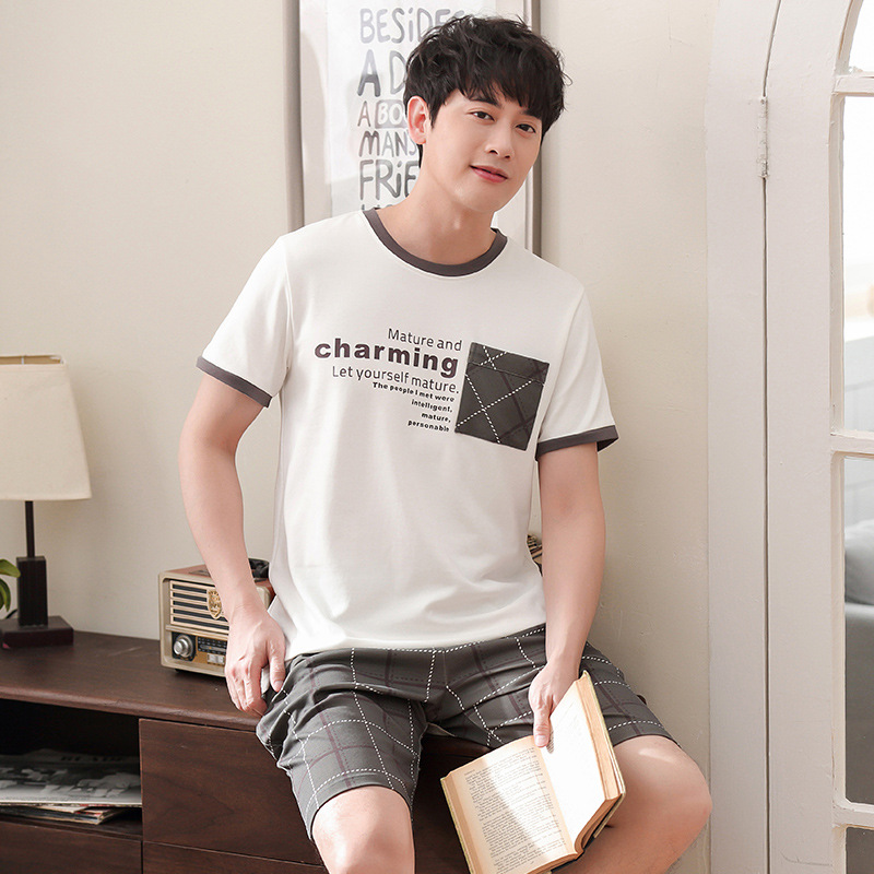 Men 2019 Summer Cotton New Korean Pajamas Comfortable Breathable Short Sleeve Shorts Casual Two Piece Pajama Sets Men Pajamas