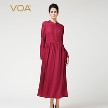 Red pleated dress VOA brief long sleeve stand collar silk dobby dresses solid natural waist ankle length dress plus size A7188