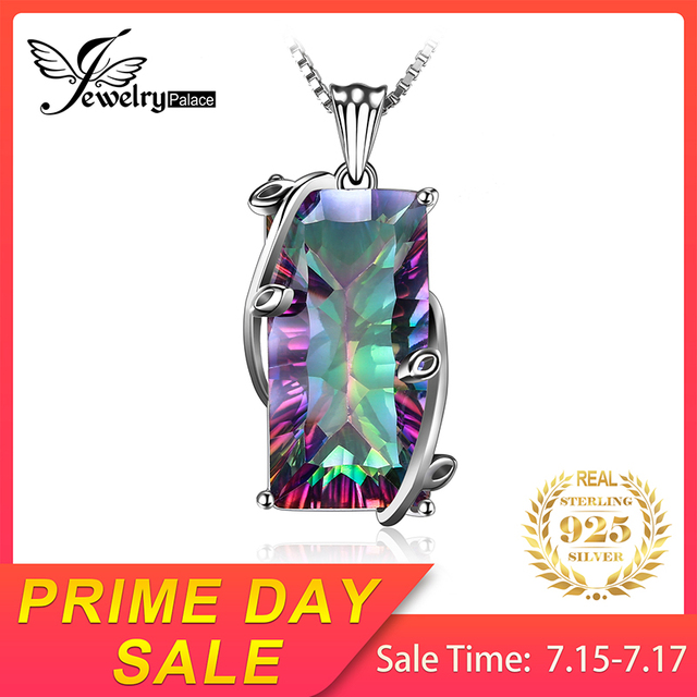 JewelryPalace 16ct Natural Fire Rainbow Mystic Topaz Quartz Pendants Necklaces 925 Sterling Silver Fine Jewelry Without Chain