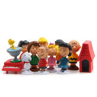 12pcs/pack Cut Anime Peanuts Figurine Charlie Brown And Friends Beagle Woodstock Miniature Model kids toy gift Animiation Action 2