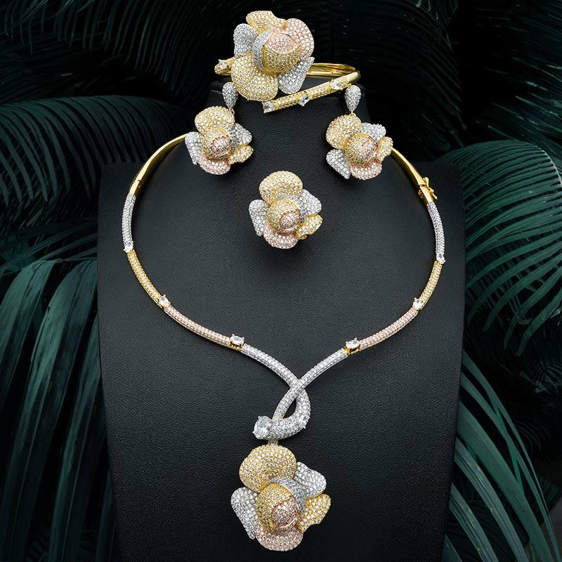 ModemAngel Роскошные розы супер блестящие AAA Cubic Zirconia Jewelry Set свадебное кольцо для женщин Цепочки и ожерелья серьга браслет кольцо