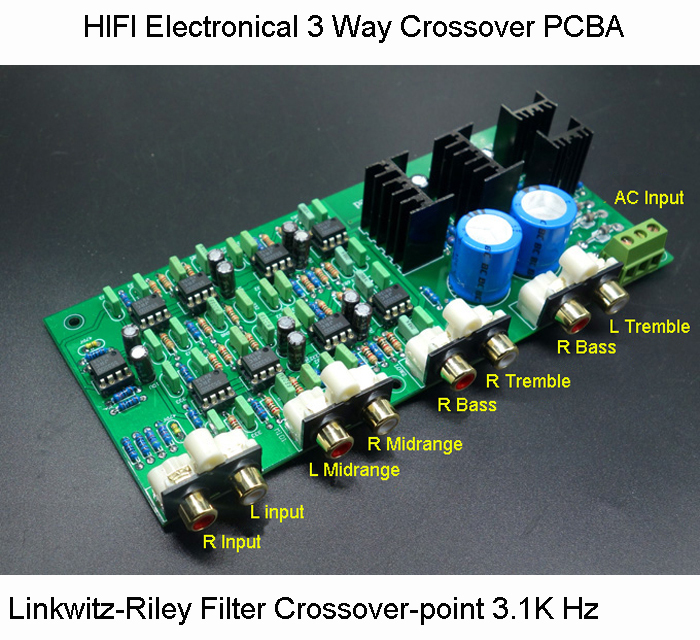 HIFI Electronical 3 Way Crossover PCBA ClassA Power Linkwitz Riley filter 6 Channel Crossover point 310HZ