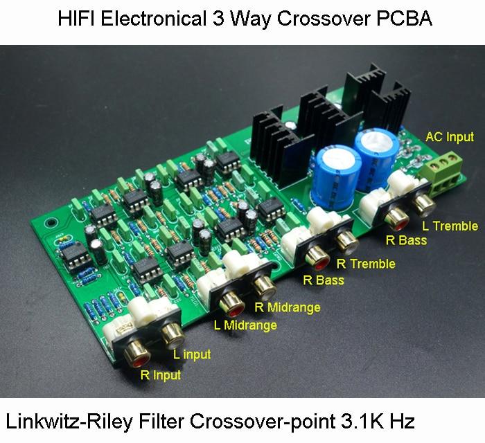 HIFI Électronique 3 Voies Crossover PCBA ClassA Puissance Linkwitz-riley filtre 6 Canaux Crossover-point 310 hz /3.1 k Hz Livraison Gratuite