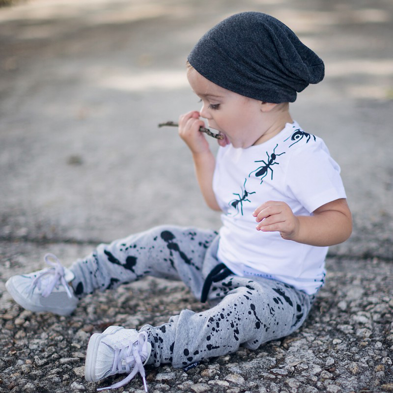 Hot Sale Boys Clothing Baby Summer Boys Print Clothes Suit Cotton Ants Printing T-shit+Solid Color Pants H1