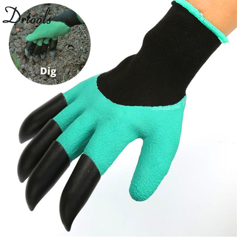 цена 2018 Garden Gloves with 4 ABS Plastic Claws for garden Digging Planting 1 pair Drop