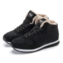 Winter Laarzen Mannen 2019 nieuwe Fur Flock Winter Schoenen Mannen Lederen Winter Enkellaars Warme Casual Mannen Laarzen plus size 35-46(China)