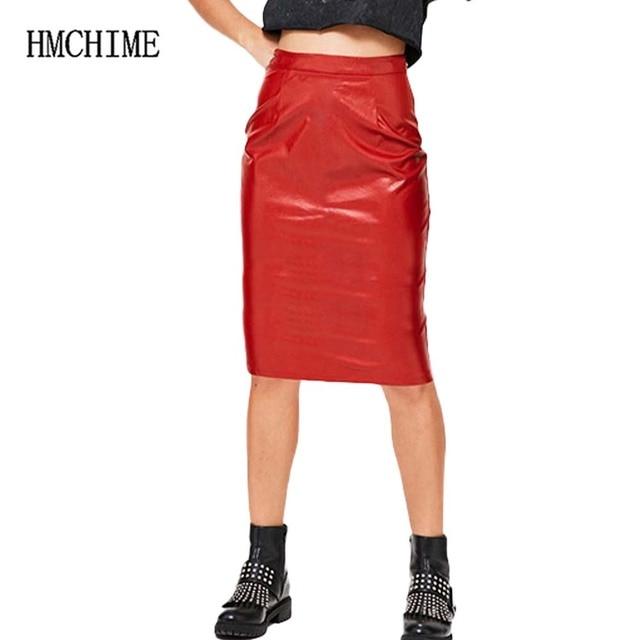 9d9dd2f515b00 Taille haute Imitation Cuir Denim Femmes Jupes de Split Hem Élastique Tissu  Paquet Hanche Crayon Femelle