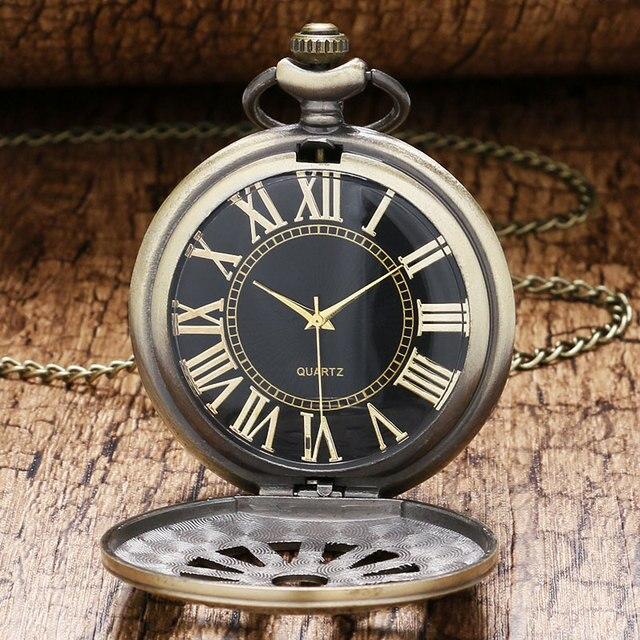 Retro Bronze Case Cool Black Dial Quartz Pocket Watch Mens Womens Pendant Chain
