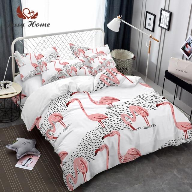 4b60c5b1bf Flamingo Padrão Têxtil de casa Jogo de Cama Set Capa de Edredão Fronhas  Roupa de Cama