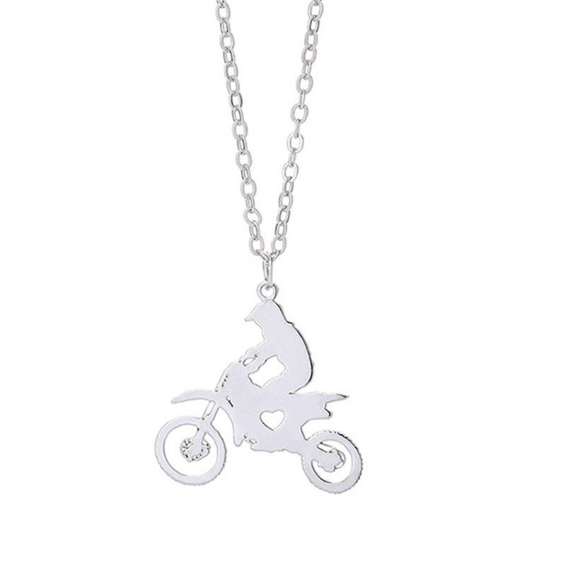 Wholesale Trendy Motorcycle Race Necklace Racing Driver Stainless Steel Heart Pendant Necklace Fashion Jewellery Gift