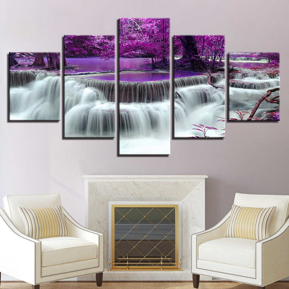 Canvas Prints Poster Living Room Decor Painting Framework 5 Pieces Purple Forest Tree Lake Waterfall Landscape Pictures Wall Art