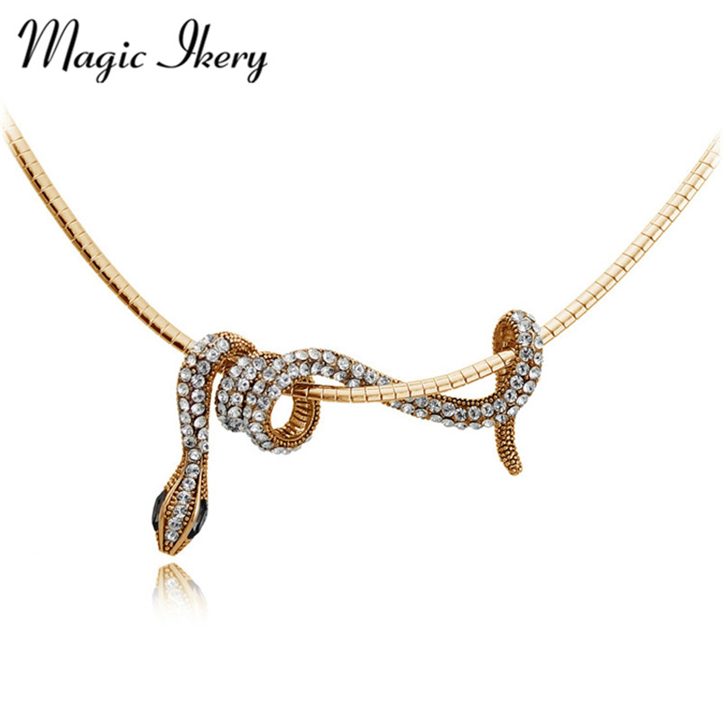 Magic Ikery Gull Farge Lang Animal Snake Pendants Halskjede Mote Smykker For Kvinner Statement Party smykker MKY2965