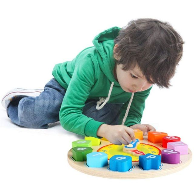 Wooden Shape Sorting Clock Educational Toy for Kids