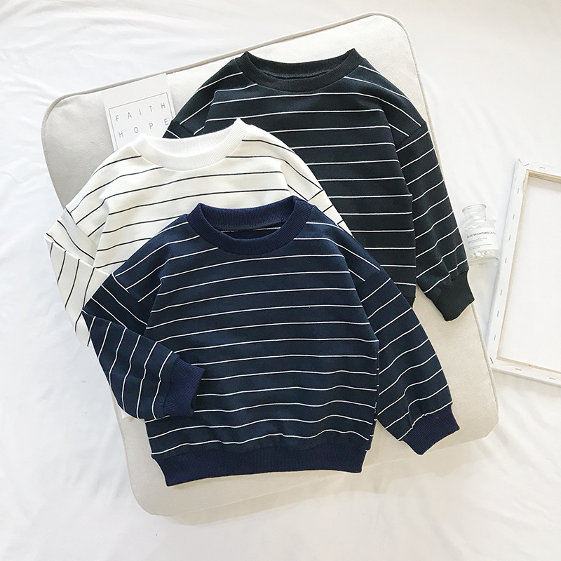 Casual Herbst Jungen Sweatshirt Kleinkinder Kleinkind Baby Kleidung Kinder Kinder Gestreiften Langarm Pullover Tops Sweatshirts S8916