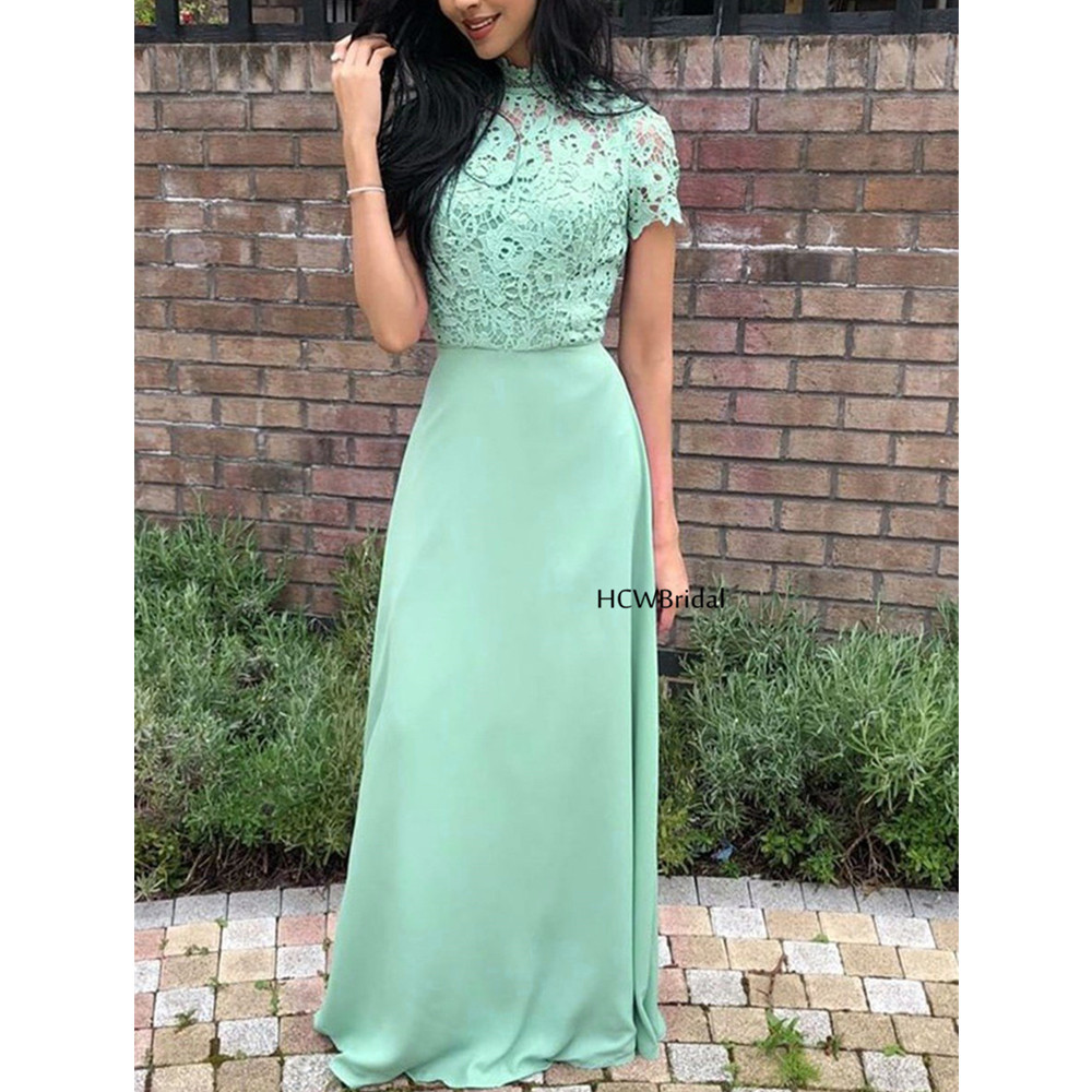 Charming Simple Mint Green Long Bridesmaid Dresses High Neck Short Sleeve Lace Chiffon Cheap Wedding Party Gowns 2019 New