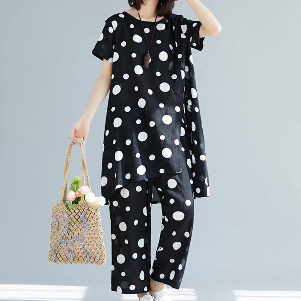 JAYCOSIN 2019 New Summer Women Suit Korean Fashion Loose Polka Dot Print Short Sleeve Tops Calf-Length Pants Bohemian Set 904257