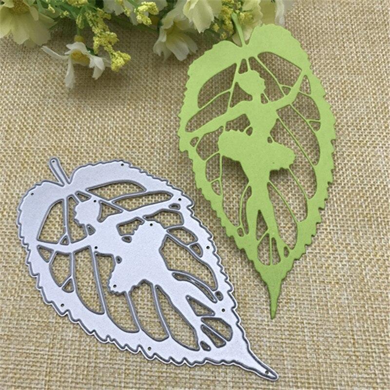 Fées sur feuilles vertes matrices de coupe en métal Scrapbooking Nouveau gaufrage décoration artisanat Dies Scrapbooking découpe