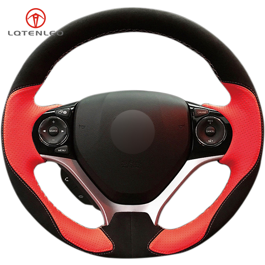 LQTENLEO Red Genuine Leather Black Suede DIY Hand stitched Car Steering Wheel Cover for Honda Civic