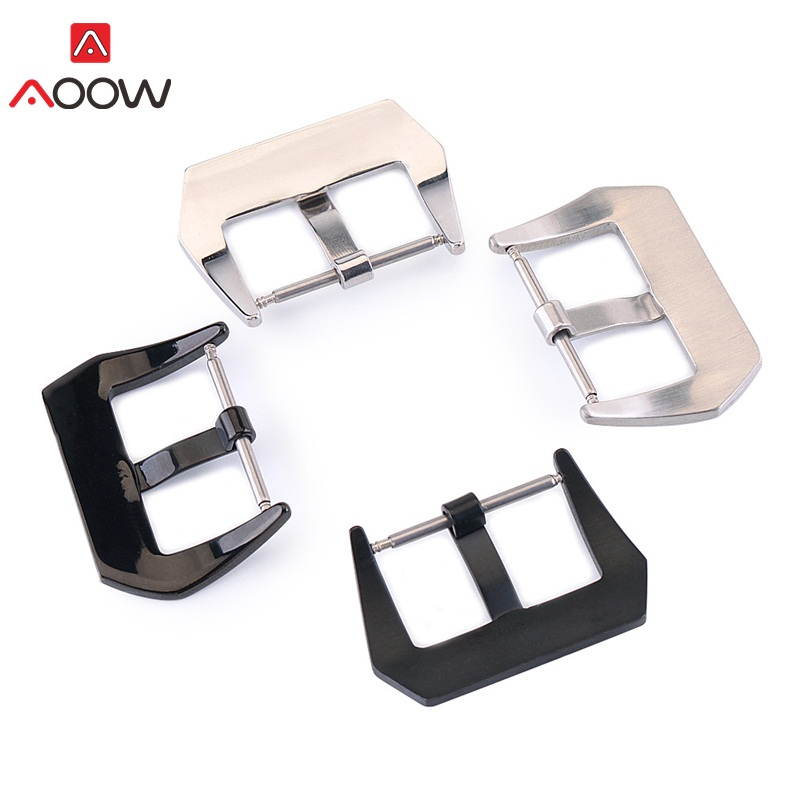 AOOW 2pcs Watchband Black Silver Metal Buckle Clasp Women Men Watch Accessories 18mm 20mm 22mm 24mm 26mm High Quality