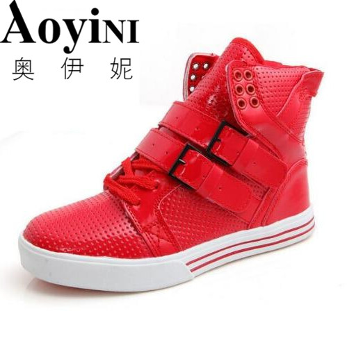 2016 Hot Sale Men PU High-top Casual Shoes Fashion Red Black White Men's Hip Hop Street Personalized Flats Shoes