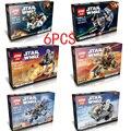 Star Wars Tema 6 Unidades ESTRELLA Porción forme WNRS Modelos y Juguetes de Construcción de Bloques de Construcción Ladrillos Compatibles