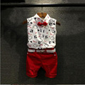 New 2016 Hot Summer Fashion Style Boys Set Children Clothing  Print  sleeveless Shirt+Red Pants+Belt 3Pcs  Kids Clothes