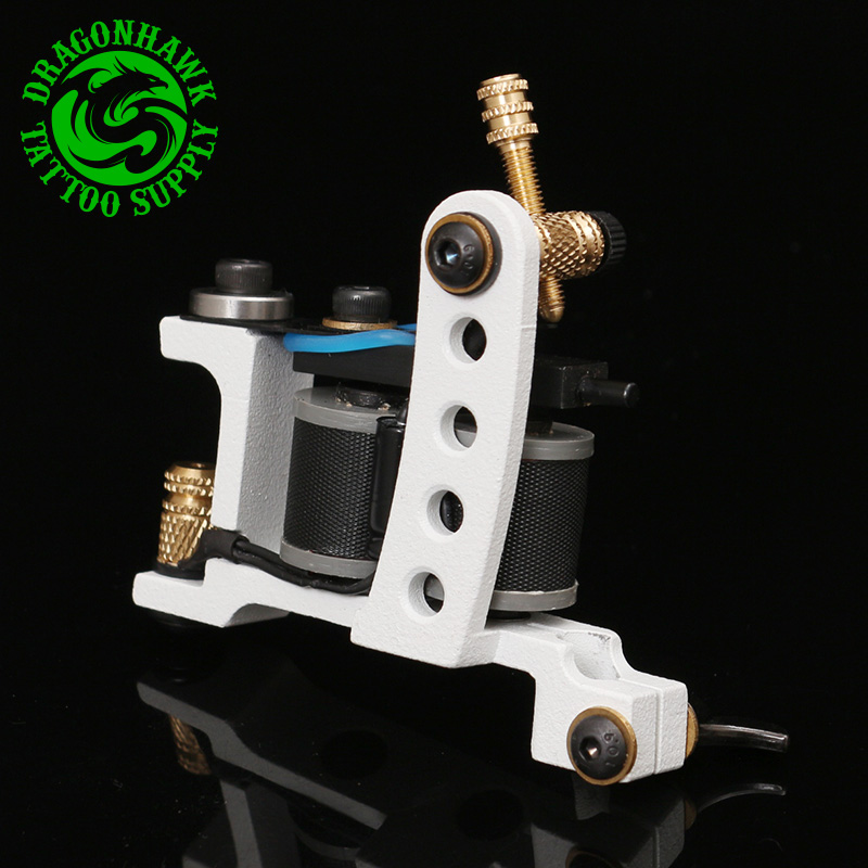 Professional Tattoo Machine 10 Wrap Coils Tattoo Liner And Shader White Gun Handmade Machine Free Shipping professional 1 bottle tattoo ink for lining and shading newest tribal liner shader pigment black newest 249ml drop shipping