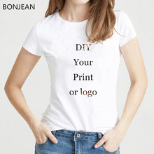 Customized Print t shirt women  Your own design DIY photo tee femme Summer White top t-shirt female oversized
