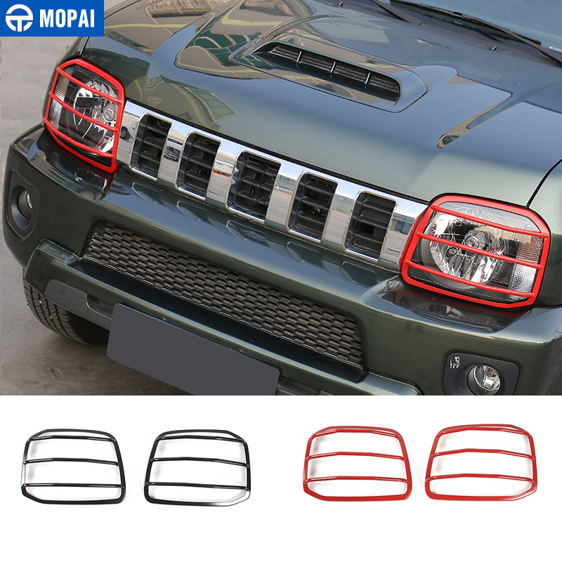 MOPAI Metal Car Headlight Head Light Lamp Cover Exterior Decoration Protect Stickers For Suzuki Jimny 2007 Up Car Styling mopai new arrival car exterior rear triangle glass decoration cover stickers for jeep compass 2017 up car styling