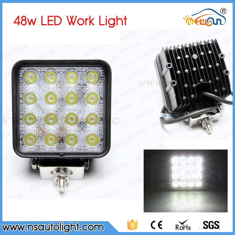 2pcs 48W off road Flood Spot Beam Square LED Work Light Lamp for car Truck Vehicle Driving Boat