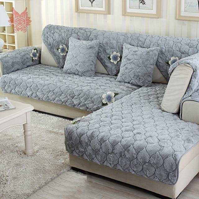 Moderne bleu gris avec floral applique longue fourrure housse de ...