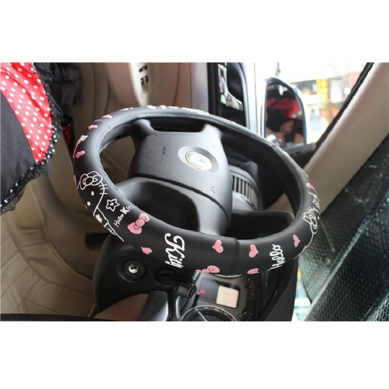 Hello Kitty Car Accessories Cartoon Steering-Wheel Cover For Auto Interior Decoration Latex cute steering wheel covers red black