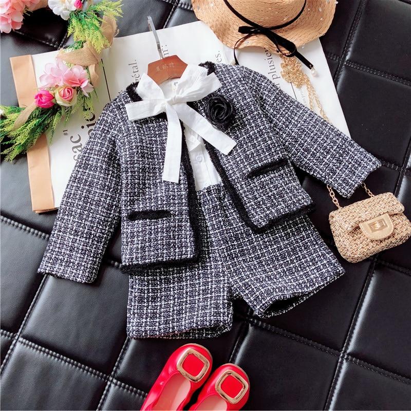 2018 girls winter clothing set long-sleeved plaid cardigan + shorts suit blazer clothes set kids children coat skirt set autumn недорго, оригинальная цена