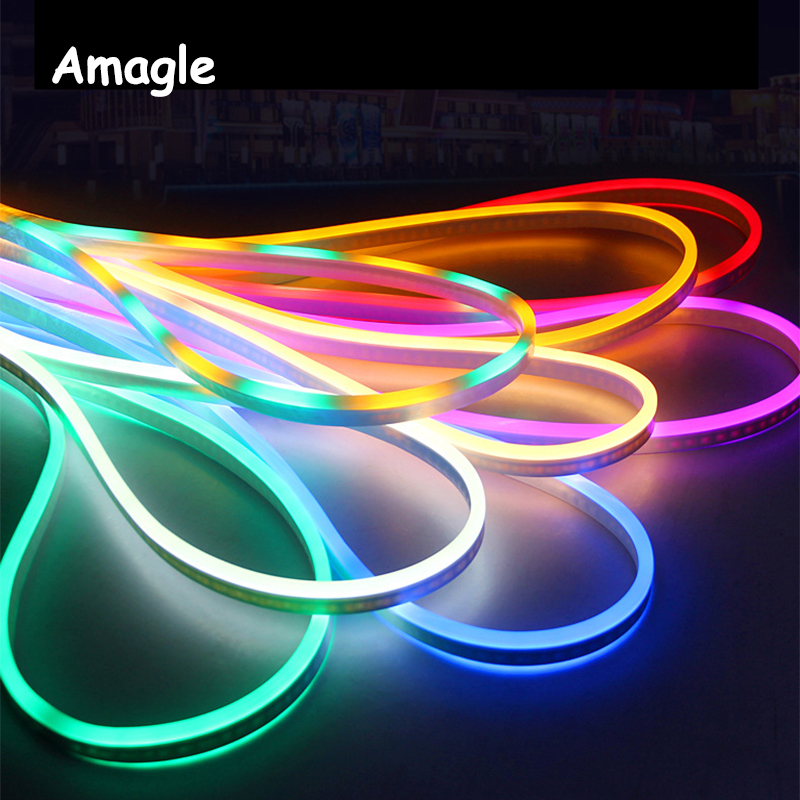 1M/2M/3M/5M Flexible Waterproof LED Strip Light Neon Light Glow EL Wire Rope Tube Cable+EU Power Plug for Party Home Decoration waterproof decorative el cold light flexible cable w drive jade green 3m 2 x aa