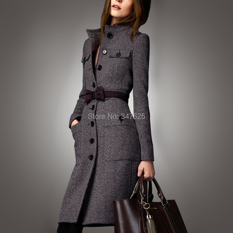 women's winter woollen coat women long slim wool female coats jackets new 2016 cashmere mandarin collar sleeve woolen - YUpsilon-Fashion store
