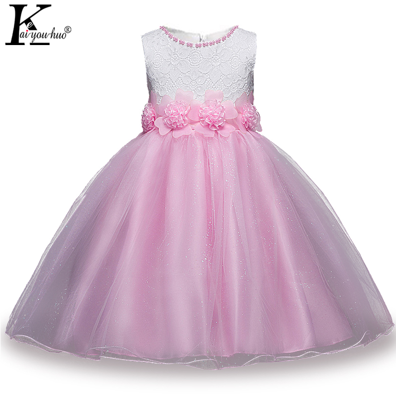 2018 Summer Girls Dress Princess Bow Flower Kids Wedding Dresses For Girls Clothes Baby Birthday Party Costume Children Clothing brwcf flower girls dress for party wedding birthday 2017 summer princess dresses leopard printing children clothes 2 8years