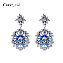Carvejewl Post Earrings Personality glass rhinestone acrylic beads windmill dangle earrings classical vintage earring for women