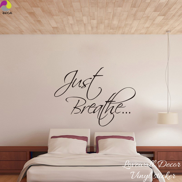 Just Breathe Quote Wall Sticker Bedroom Bathroom Wall Decal Sofa Living  Room Cut Vinyl Home Decoration