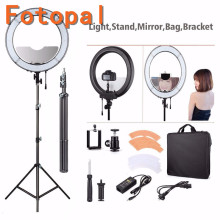 Foropal Selfie Dimmable LED Light Ring For Makeup Photo/Studio/Phone/Video Photography Annular Lamp Light with Tripod/Mirror