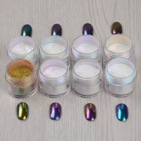8Pcs Set Shiny Chameleon Mirror Nail Glitter Powder 10g Nail Art Chrome Pigment Glitters
