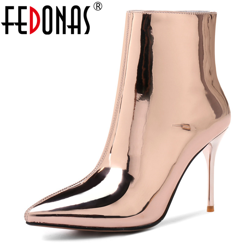 FEDONAS New Brand Pointed Toe High Heel Women Ankle Boots Sexy Patent Leather Autumn Winter Shoes Woman Dancing Prom Pumps fedonas women pumps fashion sexy pointed toe lace up high heel women shoes woman retro euro style pumps female autumn new shoes