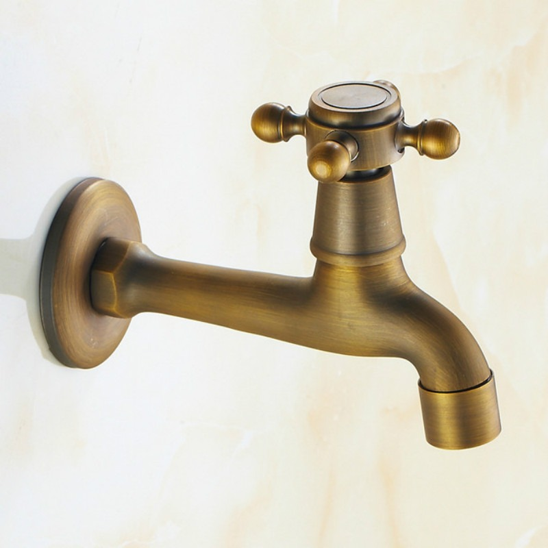 Retro Brass Wall Mounted Bibcock Antique Decorative