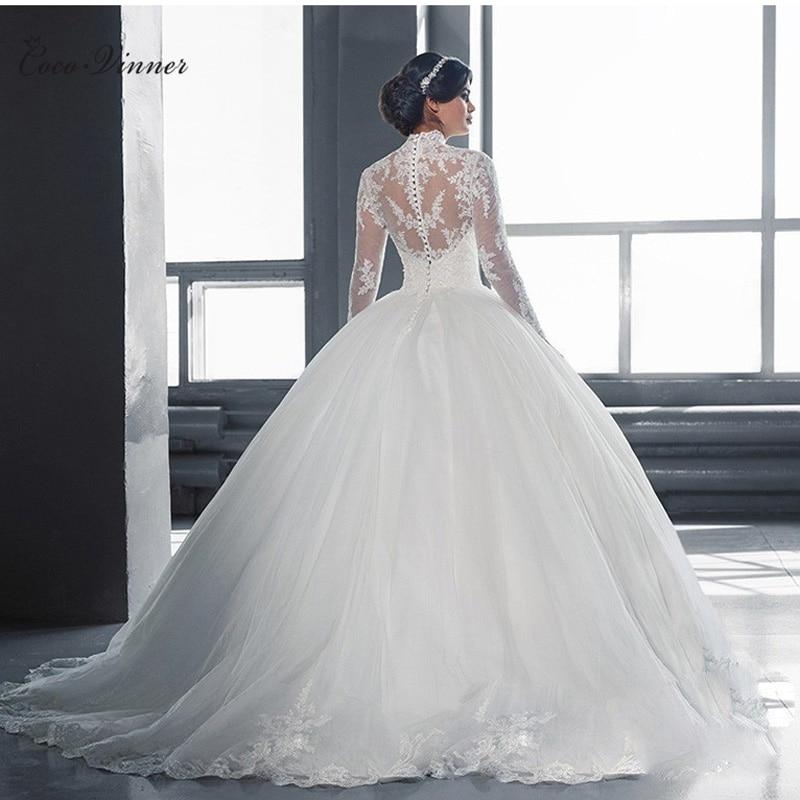 High Neck Vestido De Noiva 2019 IIIusion Back Long Sleeve Wedding Dress Custom Made Lace Ball Gown Wedding Dress W0019