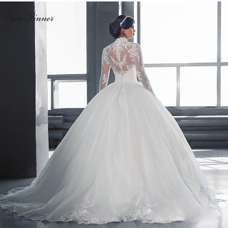 High Neck Vestido De Noiva  IIIusion Back Long Sleeve Wedding Dress Custom Made Lace Ball Gown Wedding Dress W0019