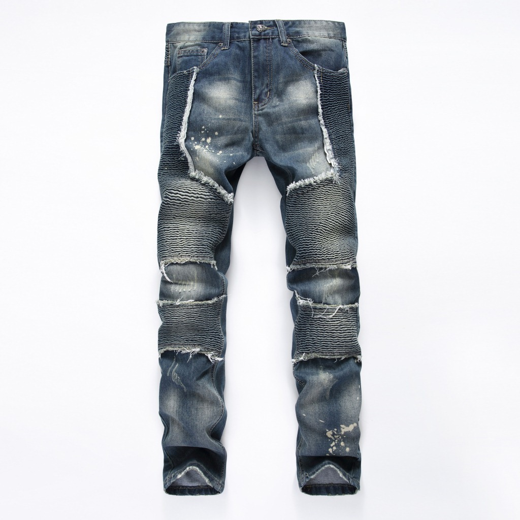 New Fashion Retro Slim Fit Biker Jeans Men Hip Hop Denim Motorcycle Jean Trousers Distressed Blue With Patchwork Famous Brand new arrival men jeans hollow out ripped distressed jeans man denim blue stretch slim fit hip hop fashion casual