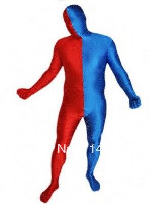 Blue & Red Split Lycra Spandex Full body Zentai Suit